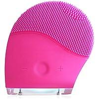 Cepillo Facial Silicona Eléctrico Limpiador, Adorishe Cepillo facial y masajeador facial ultrasónico de silicona suave Anti-Aging,Exfoliante, Recargable y Impermeable (Rosa)