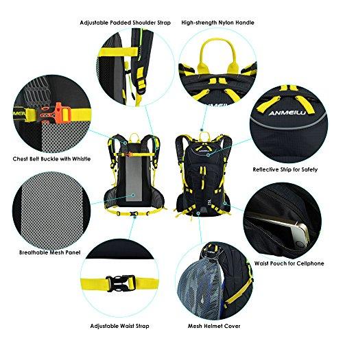 Lixada 25L Fahrradrucksack für Reisen Bergsteigen Wasserabweisend mit Regen Abdeckung Gelb
