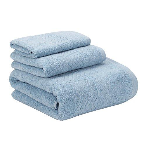 Topmail Handtuch Set 100% Dicke Baumwolle 1 Badetuch und 2 Handtücher Weich Flauschig Absorbierend für Baden Schwimmen Waschen Sauna Schönheitspflege (Hellblau)