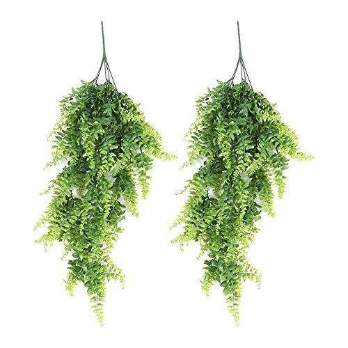 lulalula 285cm Kunststoff-Hängepflanzen Zum Aufhängen, Vine Pflanzen Grün Persian Blätter Fake Grün für Home Hochzeit Garten Outdoor Wall Decor, Plastik, Grün, 2er-Pack