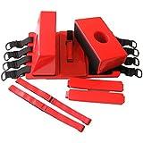 Inmovilizador de cabeza de lomo para tablero – Rescate universal de emergencia reutilizable ligero con correas – rojo