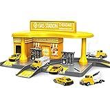 Tankstelle mit 2 legierten Spielzeugautos Interessante Geschenke für Kinder-Gelb
