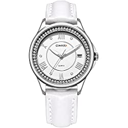 Comtex Laides Wrist Watch with White leather Strap Calender 30M Water Resistant