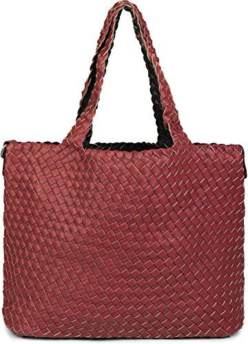 3ce36a5003b375 styleBREAKER XXL Wendetasche in Flecht-Optik, Shopper Tasche, Handtaschen  Set, 2 Taschen