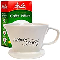 Native Spring Ceramic Coffee Pour Over Dripper Single Serve Gift Pack Includes Melitta Filters by Native Spring