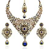 Variation Royal Blue Kundan and CZ Studded Meenakari Jewelry Necklace Set With Mangtika For Women - VD14228