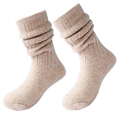 Aibrou Kinder Socken Strümpfe für Jungen Mädchen Socken Wolle Winter Warm Halten Knie Hoch mit Komfortbund Unisex 3er Pack/Mix 5 er Pack (Alter 6-7, Aprikose) (Knie Hoch Mädchen Socken)