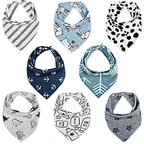 Lekebaby Baby Dreieckstuch Lätzchen 8er Saugfähig Weich Spucktuch Lätzchen Baumwolle Halstücher mit Druckknöpfen für Baby Jungen und Mädchen Kleinkinder