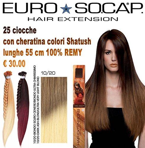 Euro socap hair extension shatush ciocche con cheratina 55 cm remy colore biondo scuro cenere/biondo ultra chiarissimo 10-20