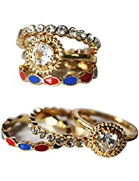 AyA Fashion Combo Set Of Gold Plated American Diamond Studded Finger Rings For Girls And Women |Elegant | Trendy...