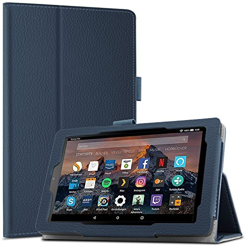 Amazon Fire 7-Hülle (7-Zoll-Tablet, 7. Generation - 2017), Infiland Slim Fit Folio PU-lederne dünne Kunstleder Schutzhülle Cover Tasche für Das neue Fire 7 (2017), 17,7 cm (7 Zoll) Display Tablet / 2015 Modell(Dunkleblau)