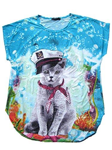 Raff Long Shirt Tunika COOLE KATZE MÜTZE Strass Tulpenform 40 42 44 Koralle Türkis