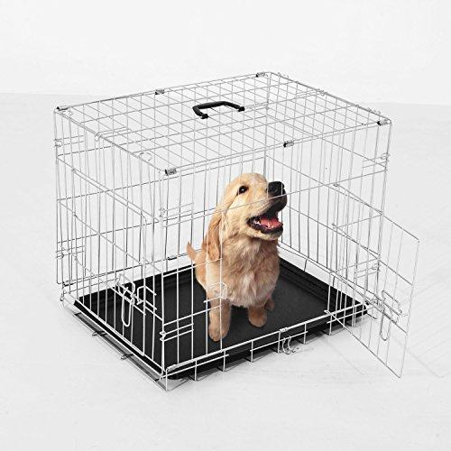 Pawhut - Gabbia per Animali Domestici per Cani e Gatti Pieghevole in Acciaio Doppia Apertura 91 × 61 × 67cm Argento