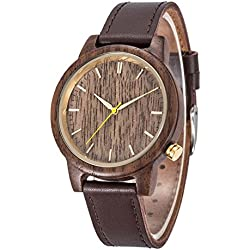 Natural Wood Watch, Kwock MIYOTA Japan 2035 Quartz Movement Original Wooden Leather Unisex Wrist Watches as gift