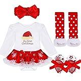 TiaoBug 4pcs Bébé Fille Barboteuse Tenue Ensemble Noël Costume pour Enfants 3-18 Mois #4 3-6 Mois