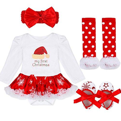 YIZYIF Ropa de Navidad 4 Piezas Traje Mameluco + Una Cinta Para Pelo + Calentador de Pierna + Zapatos Para Bebé-Niñas 3-18 Meses Blanco&Rojo con Sombrero de la Navidad S