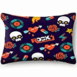 tuyi Funky Rock Skull The Arts The Arts Throw Pillow Case Cushion Cover Double Side Design 20' x 30'