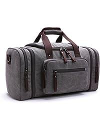 WOMJIA 40L Vintage Voyage sac sac de sport weekender bagage à main de sac de toile en toile Sac en bandoulière Noir