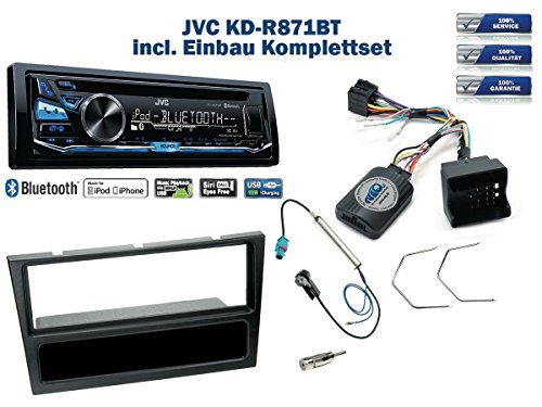 a / Signum / Vectra Autoradio Einbauset *Schwarz* inkl. JVC KD-R871BT und Lenkrad Fernbedienung Adapter ()