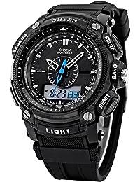 OHSEN para hombre resistente al agua Digital LCD de cuarzo alarma fecha militares deporte goma reloj