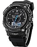 OHSEN Mens impermeabile al quarzo digitale LCD allarme data Sport militare gomma orologio