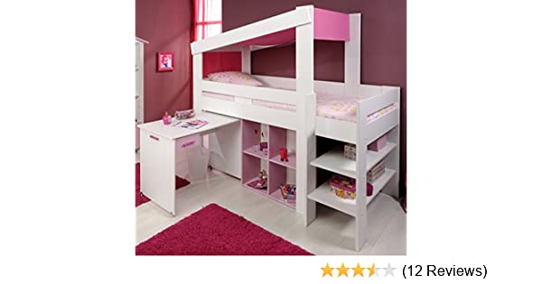 Parisot Etagenbett Bauanleitung : Parisot kinderzimmer biotiful hochbett 90x200cm weiß rosa: amazon