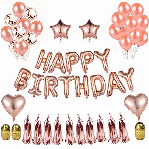 (EKKONG Deko Geburtstag, Party Deko mit Happy Birthday Banner,15 Latex Ballons ,5 Rosegold Konfetti Luftballons, 4 Sterne Herz Folie Ballons, 10 Folierte Tassel Garland, 30m goldene Schnur)