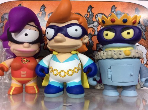 Kidrobot Futurama Series 2 Set 3 Fry-Captain Yesterday, Leela-Cloberella, Bender-Superking 3 Vinyl Figures (Opened to Identify Contents) by Futurama Series 2
