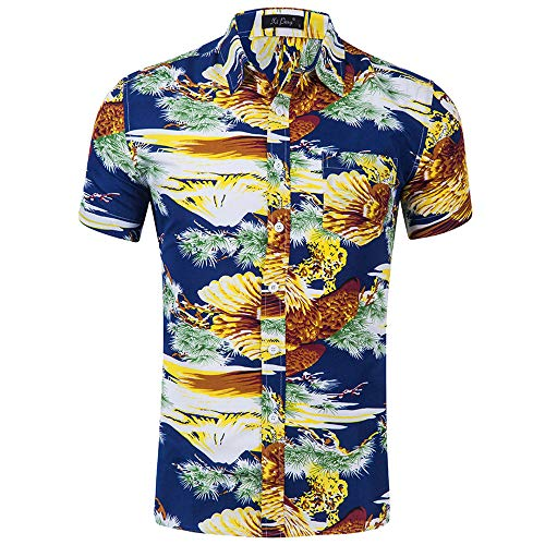 Fenverk Herren Casual Button Down Hawaii Tropisches Hemd -
