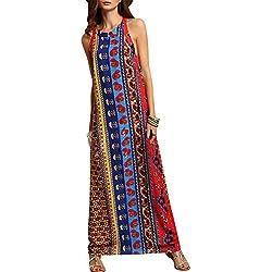 misseurous bohemio de la mujer Casual estilo étnico patrón impreso larga Shift vestido