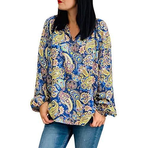 LUGOW Blusen Damen Sexy V-Ausschnitt Langarm Tops Lose Sweatshirts Bluse Blumenmuster T-Shirt Pullover Langarmshirts Tee Shirt Online Sale(Medium,Marine) -