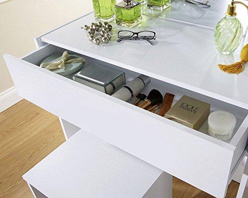Moderno bianco specchiera con sgabello e specchio bianco 1 cassetti