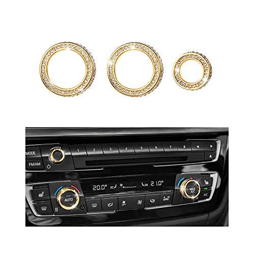 VDARK Zubehörteile AC-Drehknopf Klimatisierung Kappen Abdeckungen Aufkleber Bling Innendekoration Compatible with BMW 2 3 4 Serie X1 X2 X3 X5 X6 M2 M3 M4 35 F36 G36 G01 G12 AWD Kristall (Gold) -