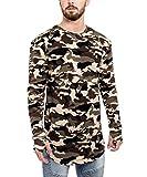 Blackskies Oversize Round Longsleeve Shirt Herren Longshirt Abgerundet Camouflage Woodland Camo - S