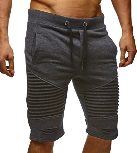 LEIF NELSON Herren Kurze Hose Shorts Sweatshorts LN9025; Größe XL, Anthrazit