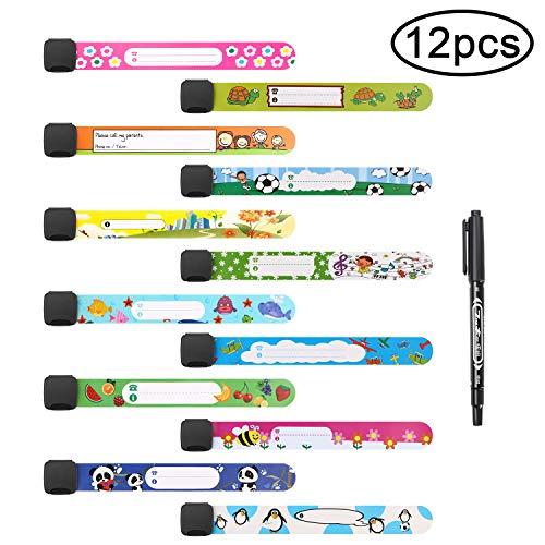 Vicloon Notfall-Armband für Kinder, 12 Stück SOS Armband mit 1 Marker Stift, ID Armband, Kinder Namensarmband Wasserdichtes Wiederverwendbares für Jungen, Mädchen & Kleinkind Baby