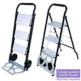 2 in 1 Sackkarre Faltbar & Klappleiter, Transportkarre mit Griff ausziehbar Kapazität 80 kg, Treppenleiter Alu 3 Stahl-Stufen Belastbar bis 150 kg