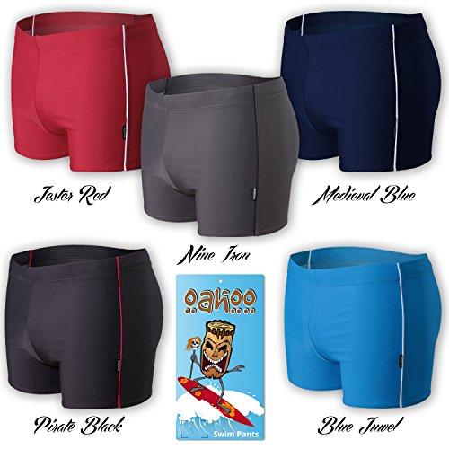 OAHOO - Costume da bagno uomo - shorts da bagno - qualità celodoro - disponibile in tanti colori alla moda e nelle taglie S-XXL Nero