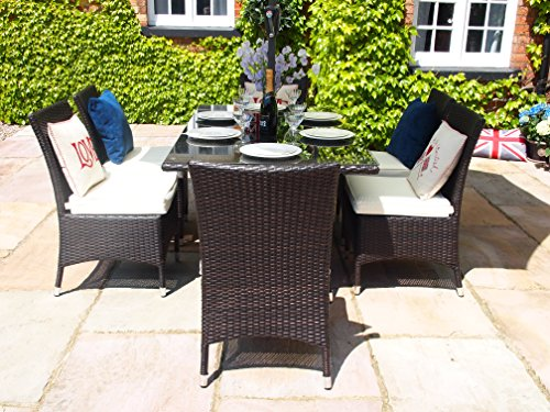 Barcelona Rectangular Grey Rattan Garden Furniture Table And 6 Dining Chairs