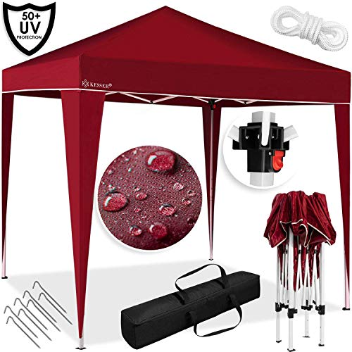 Kesser® Pavillon 3x3m | wasserdicht | inkl. Tasche | Pop-Up Klicksystem | UV-Schutz 50+ | Faltpavillon | Gartenzelt | Partyzelt Zelt | Metall-Verstrebungen | (ROT)