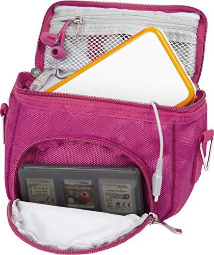 Orzly Umhängetasche in hoher Qualität für Nintendo DS (geeignet für alle DS-Versionen mit klappbarem Display:DS / DS Lite / 3DS / 3DS XL / New 3DS / New 3DS XL / 2DS XL)-Tasche mit Tragegriff - verstellbarer Schultergurt - Befestigung für Gürtel-rosa