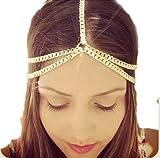 Bluelans Frauen Mädchen Boho Sexy Quasten Stirnband Gliederkette Cuff Kopfstück Haarband Haarkette Kettenschmuckstirnband