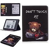 Qiaogle Tablet Coque - Folio PU Cuir Étui Housse Case pour Amazon All-New Kindle E-reader 6 Pouce (8th Generation, 2016 Release) - BF125 / Don't Touch Me (Un Ours)