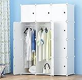ETTBJA DIY Plastik Schrank Portable Kleiderschrank Lagerung mit Aufkleber Design ihre eigenen (12 Würfel mit 2 hangers)