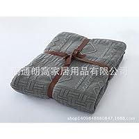 MQZM-Ispessita e cashmere maglieria autunno/inverno coperta divano coperta coperte,grigio