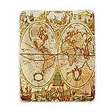 vinlin World Überwurfdecke mit antiker Karte, Samt, weich, warm, leicht, für Wohnzimmer, Outdoor, Reisen, 127 x 152 cm