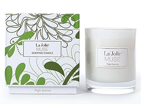 Duftkerze Trendy Grün Weiß Nacht Jasmin Kerze im Glas aus Sojawachs mit Ylang Ylang 45Std Muttertag Geschenk