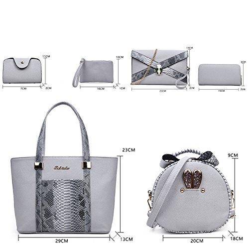 Sunas Borsa a tracolla trasversale della borsa delle nuove donne di modo 2017 retro 6 insiemi delle borse superiori delle borse grigio