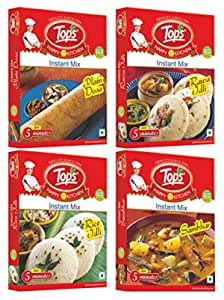 Tops South Indian Mix (Rice Idli 200gm + Rava Idli 200gm + Rice Dosa 200gm + Sambhar 100gm), Pack of 4