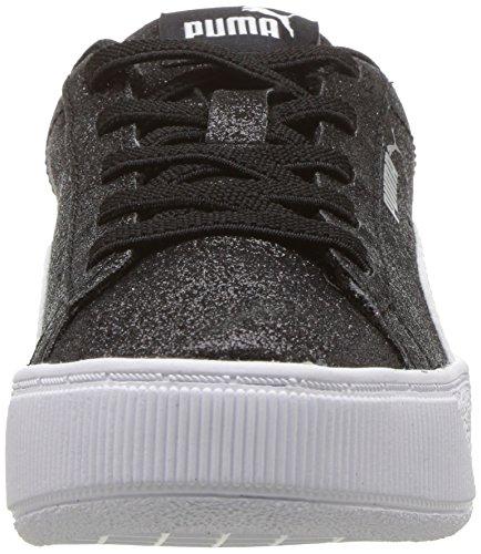 PUMA Unisex-Kids Vikky Platform Glitz AC PS Sneaker  Black White Silver  12 5 M US Little Kid